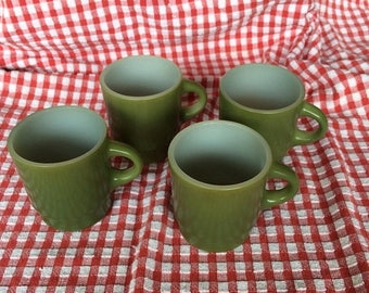 Summer Sale Vintage Avocado Green Fire King Anchor Hocking Set of Four 10 oz Stackable Mugs
