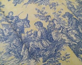 Historical Toile Fabric Cotton Decorator Cloth Scrapbook Lampshade Material