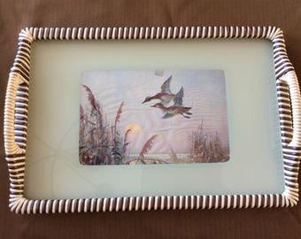 Nice vintage serving tray wildlife duck landing in a pond design