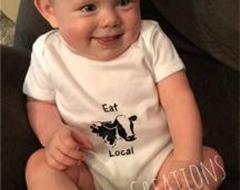 Eat Local Baby Bodysuit, Funny Baby Bodysuit, Baby Gift idea, Baby Shower Idea, Baby Girl, Baby Boy, Baby Clothing, Eat Local