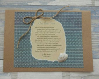 On the sea poetry card, John Keats poetry greeting card, sea themed greeting card,beach themed card,poetry keepsake card,ocean birthday card