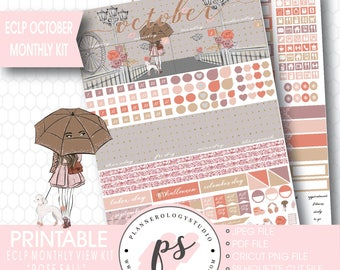 Rose Fall October 2017 Monthly View Kit Printable Planner Stickers (for use with Erin Condren ECLP) | JPG/PDF/Silhouette Compatible Cut File