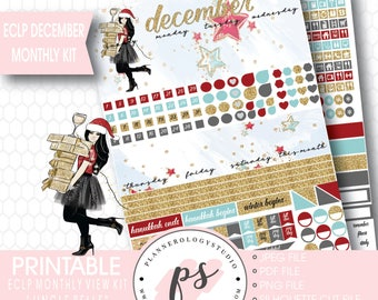 Jingle Bells Christmas December Monthly View Kit Printable Planner Stickers (for Erin Condren ECLP) | JPG/PDF/Silhouette Cut File