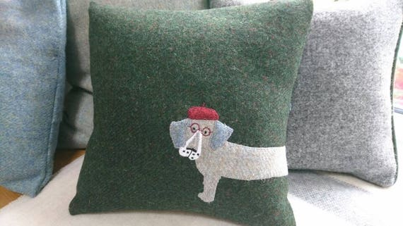 Hand Crafted Harris Tweed Dachshund sausage dog Cushion Cover