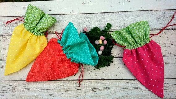 Hand Crafted colourful cotton  Easter carrot string bags