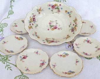 1910s Porcelain bowl & 6 plates antique flowers Schirnding Bavaria PS Art Nouveau colourful floral 1900 German