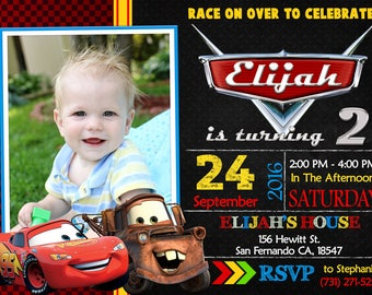Disney Cars Invitation, Disney Cars Birthday Party