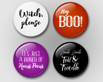 Halloween Magnet Set - Halloween Gift - Magnets - Refrigerator Magnets - Hocus Pocus - Witch Please - Boo - Double Double Toil and Trouble