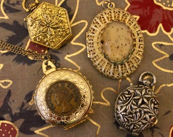 Vintage Locket Lot - Vanity Jewelry - Great Gatsby Style Jewelry