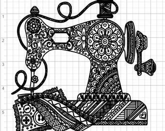 Mandala Sewing Machine Design  SVG PDF Eps Dxf & Studio 3 Cut Files