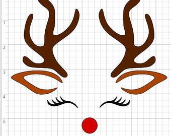 2 Reindeer Face Designs SVG EPS DXF pdf Studio 3 Cut Files
