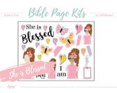"She Is ""Blessed"" Bible Page Kit. Great for 100 days of Bible Promises or any journaling Bibles! Digital, printable stickers."