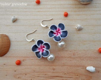 Tiare flower and Pearl, gift earrings mother of the great day, Easter
