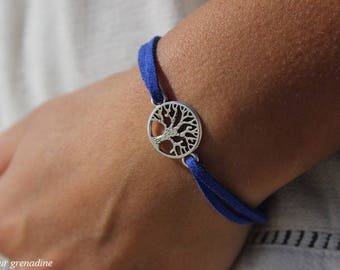 Tree of life and Suede Blue bracelet, gift idea celebrates the big day, Easter