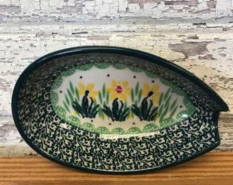 Polish Pottery Spoon Rest-Daffodil