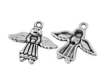 5 Angel charm, angel wing, Angel, Cupid, Tibetan silver Angel pendant charm, 20 mm