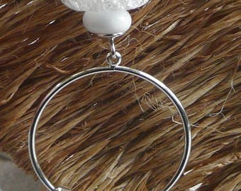 "Silver plated necklace and metal ""Pure white"""
