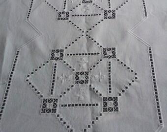 Sweden Hardanger 128cm/83cm tablecloth,runner.Home decor.1970's
