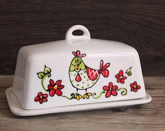Red flower chicken ceramic butter dish