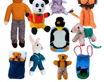 Cute Toys to Knit - Part 1 - PDF knitting pattern - lion, rabbit, dog, panda, vegetable finger puppets, penguin hot water bottle cover, bear