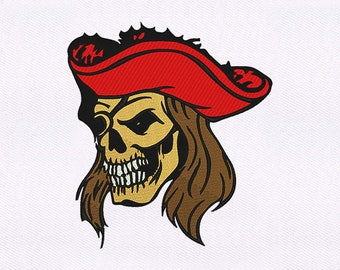 Hat Wearing Skull Pirate Embroidery Design | Skull Embroidery | Skull Design Embroidery | Skull EMB Design | Embroidery Skull Design