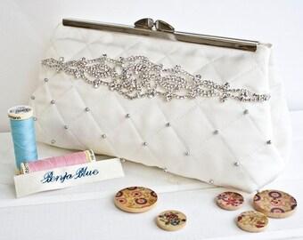 Wedding Bag - Bridal - Clutch Bag - Bride - Bridesmaid - Hand Bag - Evening Bag - Handmade bag - hand-sewn Swarovski pearls - diamante trim