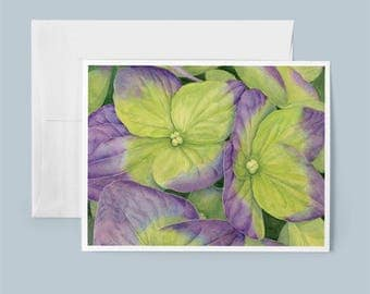 Greeting Card, Hydrangea Flower, Holiday Card, Blank Card, with Envelope, From Original Botanical Painting