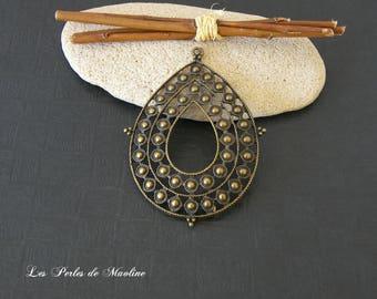 1 patterned Teardrop shape pendant - Bronze - 67x50mm - ref:t57 - A633