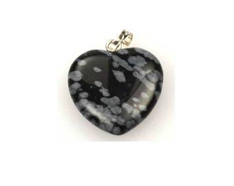 "3/4"" (20mm) Snow Flake Obsidian Heart Pendant"