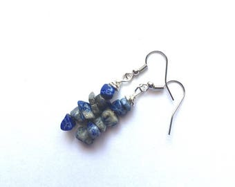 Earrings in silver and blue beads