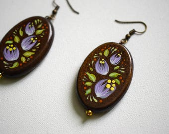 painted wooden earrings Painted earrings brown wooden earrings Handmade earrings Flowers jewelry Earrings with flowers Wooden jewellery
