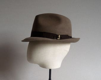 Barbisio. One of a kind trilby. Original vintage. Light brown fur felt hat. Men's hat. Italian hat. Vintage hat. Retro accesories