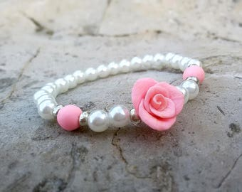 Pink Rose Bracelet Pearl Rose Jewelry White Pink bracelet Baby Rose Bracelet Stretch Girl bracelet Baby shower gift Kids Bracelet for Baby