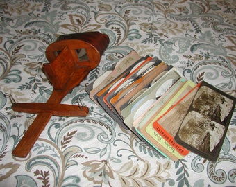 Antique 1895 Wooden Saturn Stereoscope with 30 Stereoview Photos Made by James M. Davis