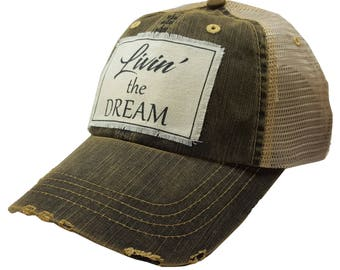 "Women's Trucker Hat Black Denim Distressed Trucker Cap with ""Livin' the Dream"", Trucker Hat, Mesh Hat, Womens Trucker Hat, MBellished"
