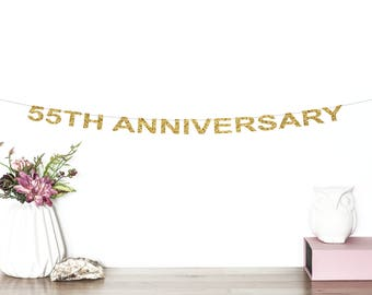 55th Anniversary Glitter Banner | Cheers To 55 Years | 55th Wedding Anniversary | Birthday | Anniversary Party Decor | 55th Party Banner