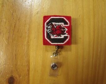 NCAA Carolina Gamecocks Retractable Reel ID Badge Lanyard Clip Nursing Scrubs