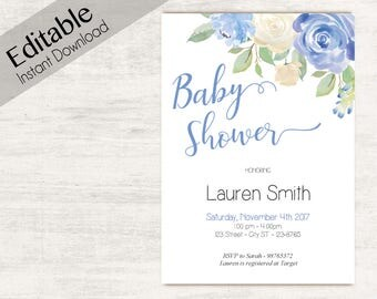 Baby Shower Invitation, Editable PDF, Baby Shower Boy, Baby Boy, Editable Invitation Boy, Editable baby shower template, Baby Shoer print