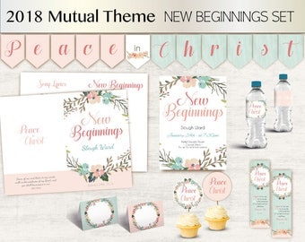 YW New Beginnings set LDS Young Women Theme 2018, Peace in Christ, Program, Editable Invitation, Toppers, Wraps, bookmark, Banner, Tent Card