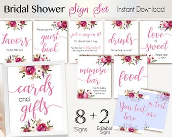 Bridal Shower Sign Set, Bridal Shower Sign Package Set Bundle, Printable Bridal Sign, Bridal Tea Sign, Pink Floral Sign, Editable Sign
