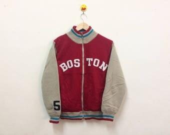 Rare!!! Boston Reversible Zipper Sweater Spellout