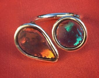 925 Silver ring and resin opalescent 52-55.