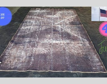 Was 495 dollars   Turkish Hand Knotted Rug 9'x5' Distressed, Over-dyed Rug From Isparta, Turkey SD-002  4 JULY Sale!