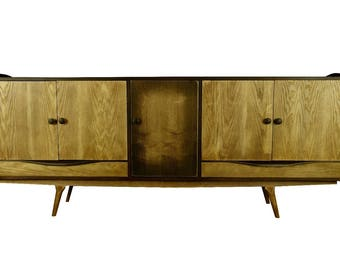 "85"" Mid Century Modern Oak Credenza Sideboard TV Stand Local Pick Up Only"