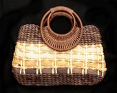 Wooden handle purse , summer straw bag - woven straw handle purse - raffia straw purse - woven raffia handbag - brown straw purse - # H18