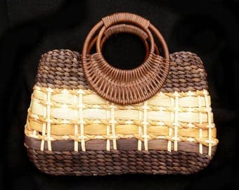 Wooden handle purse , summer straw bag - woven straw handle purse - raffia straw purse - woven raffia handbag - brown straw purse - # H18