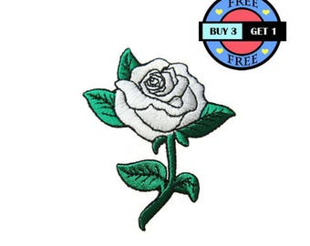 White Rose Flower Embroidered Iron On Patch Heat Seal Applique Sew On Patches