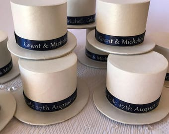 Top Hat Wedding Favour Box Personalised add Bride and Grooms name Date of Wedding or Guests Name, Ivory Ready Made Custom Wedding Favour