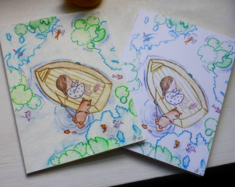 Nap Time Adventure - Handmade Watercolor Blank Card