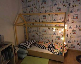 Montessori bed sweet home Happy Babies-Bed Montessori Fir 160x70 yellow
